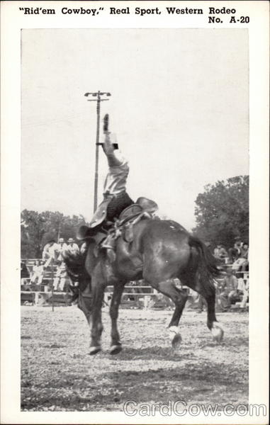 Cowboy on bucking horse, black & white photo Rodeos