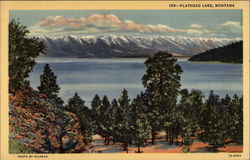 Flathead Lake and snow-capped mountains
