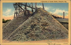 Mountain of Oyster Shells, colorized Postcard