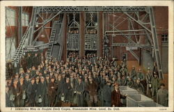 Homestake Mine, lowering men in double-deck cages