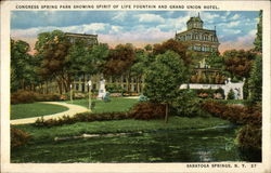 Congress Spring Park Showing Spirit of Life Fountain and Grand Union Hotel