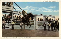 Riding an Outlaw, Rodeo Scene of the Far West