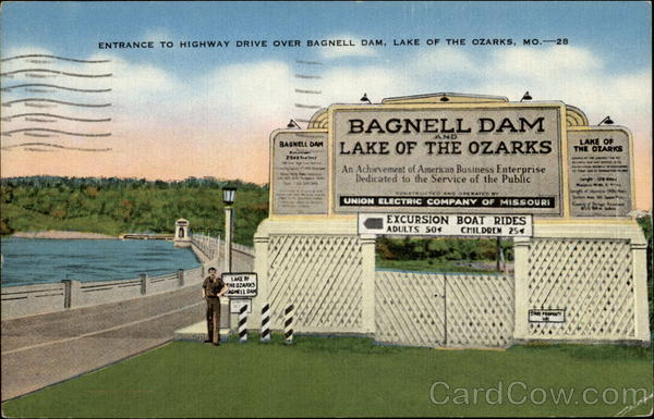 Entrance to Highway Drive over Bagnell Dam Lake Ozark Missouri