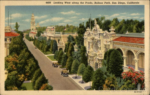 Looking West along the Prado, Balboa Park San Diego California