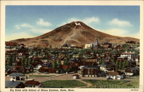 Big Butte with School of Mines Emblem Montana
