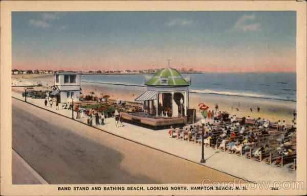 Band Stand and Bathing Beach, Looking North Hampton Beach New Hampshire