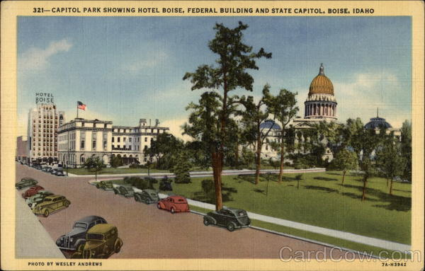 Capitol Park Showing Hotel Boise, Federal Building and State Capitol Idaho