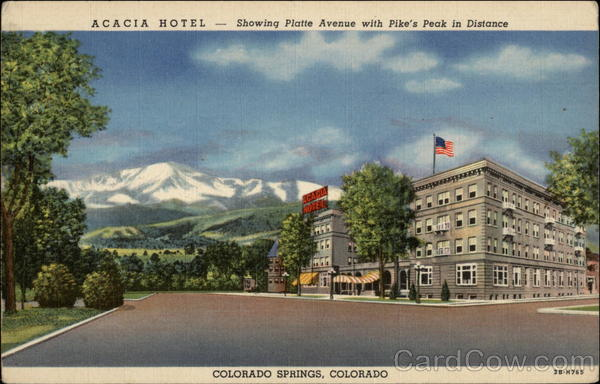 Acacia Hotel - Showing Platte Avenue with Pike's Peak in Distance Colorado Springs