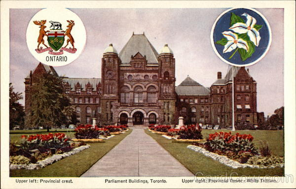 Provincial Crest, Parliament Buildings, and Provincial Flower-White Trillium Toronto Canada
