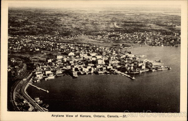 Airplane view of Kenora Canada Ontario
