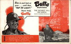 Miner Invites Visitors to Butte, Montana