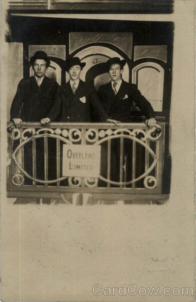 Three men on Back of Railroad Car Trains, Railroad