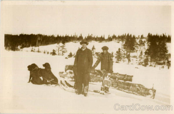 Two Men Hauling Logs by Dogsled