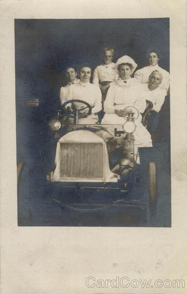 Group of Women in an Old Automobile