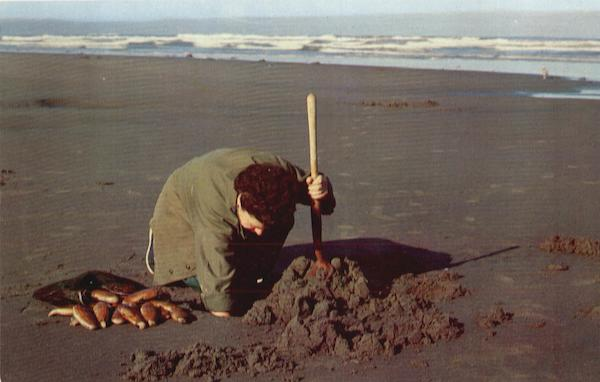 Clam Digging, Pacific Coast Beaches Fishing