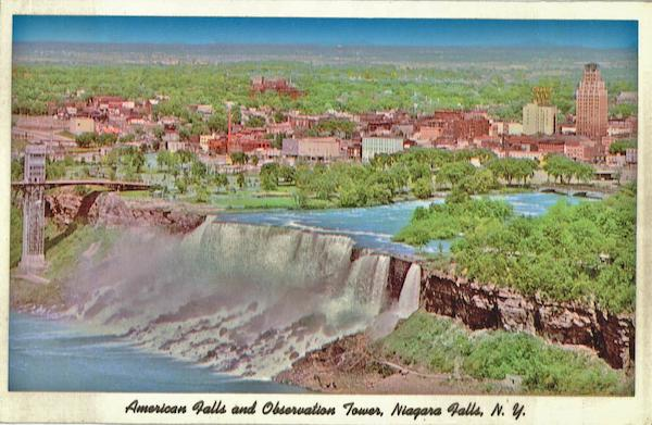 American Falls And Observation Tower Niagara Falls New York