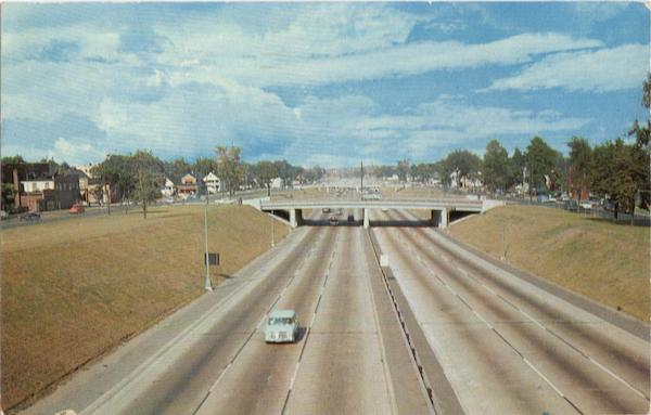 View along Detroit's Expressway Michigan