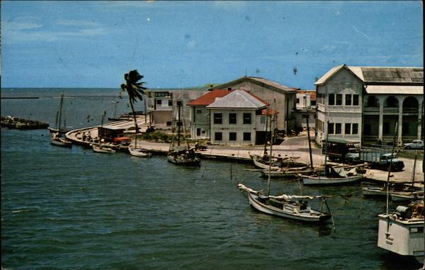 The Court House Wharf with Government Buildings on the right Belize City Honduras