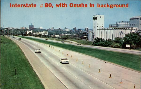 Interstate # 80, with Omaha in background Nebraska