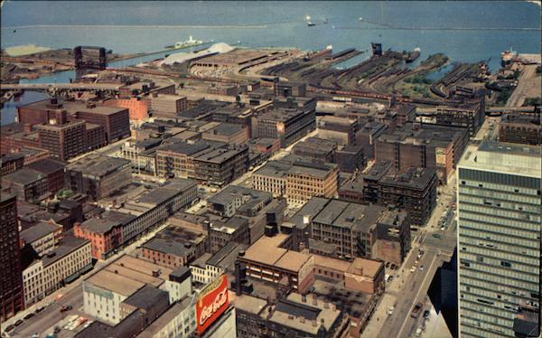 Aerial View of the Wholesale District of Downtown Cleveland Ohio