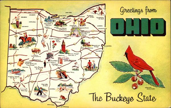 Greetings From Ohio The Buckeye State Maps
