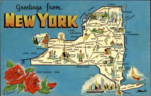 Greetings from New York Antique Postcard
