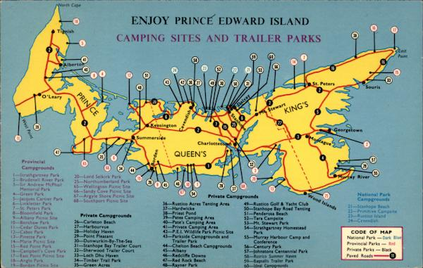 Prince Edward Island Camping Sites And Trailer Parks Maps Canada