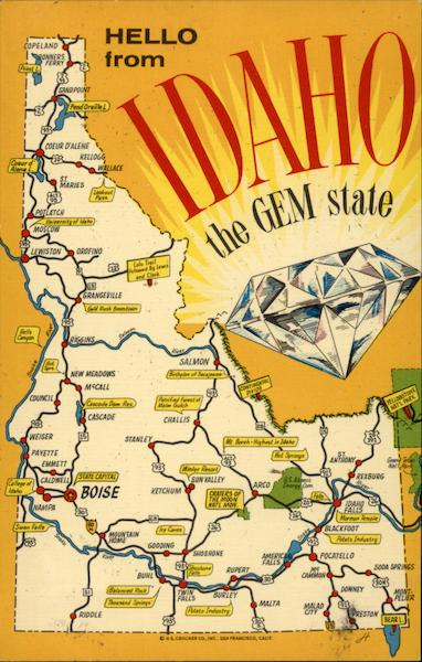 hello from idaho the gem state maps