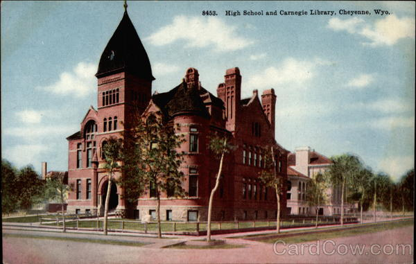High School and Carnegie Library Cheyenne Wyoming