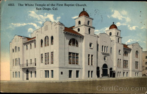 The White Temple of the first Baptist Church San Diego California