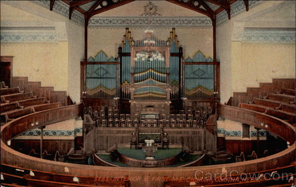 Interior of First M.E. Church Omaha Nebraska