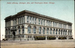 Public Library, Michigan Ave. and Washington Street Postcard
