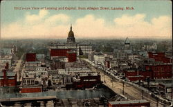 Bird's-eye view of Lansing and Capitol, from Allegan Street