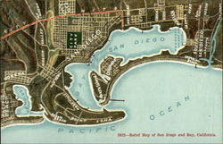 Relief map of San Diego and Bay Postcard