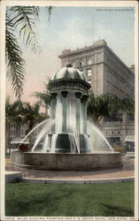 Wilde Electric Fountain and U.S. Grant Hotel Postcard