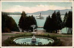 Lake from the Piazza, Fort William Henry Hotel Postcard