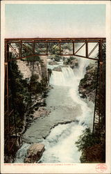 Railroad Bridge and Rainbow Falls Postcard