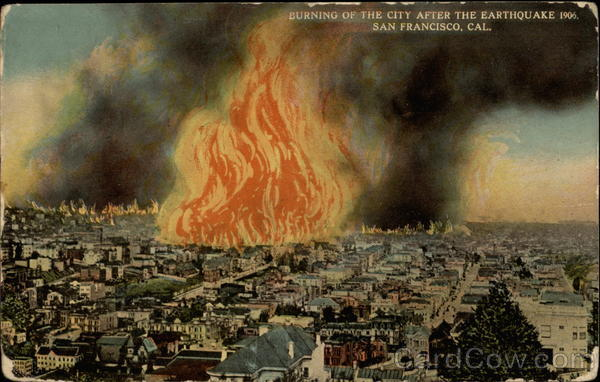 Burning of the City after the Earthquake, 1906 San Francisco California