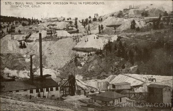570- Bull Hill, Showing Cresson Mill in Foreground. Victor, COLO Colorado