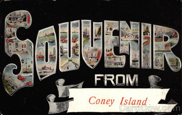 Souvenir From Coney Island New York Large Letter
