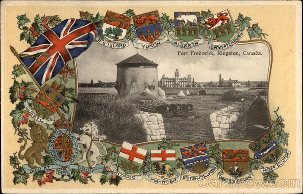 Fort Frederick plus National & Provincial Flags Kingston Canada