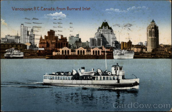 Vancouver, B.C. Canada from Burrard Inlet British Columbia