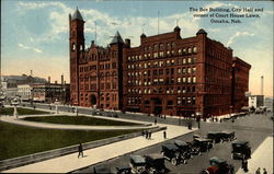 The Bee Building, City Hall and corner of Court House Lawn Postcard