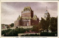 Chateau Frontenac, Post Office and Ramparts Postcard