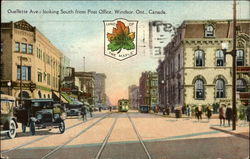 Ouellette Ave., looking South from Post Office Postcard