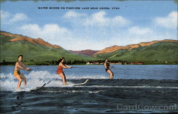 Water Skiers on Pineview Lake Ogden Utah Surfing and Waterskiing