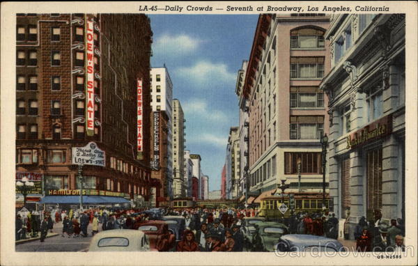 Daily Crowds--Seventh at Broadway Los Angeles California
