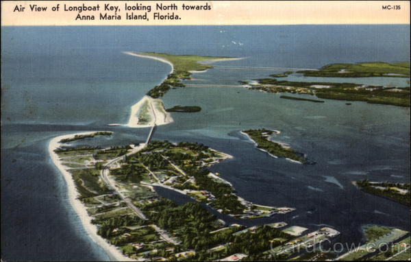 Air View of Longboat Key, Looking North Towards Anna Maria Island Florida