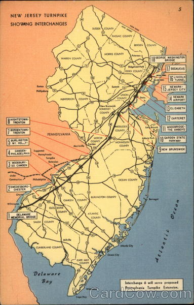New Jersey Turnpike Showing Interchanges Maps