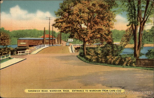 Sandwich Road - Entrance to Wareham from Cape Cod Massachusetts